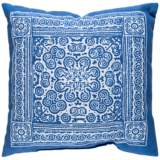 "Surya Robyn Blue and White 18"" Square Decorative Pillow"