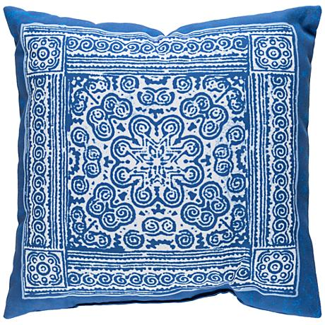 """Surya Robyn Blue and White 18"""" Square Decorative Pillow"""
