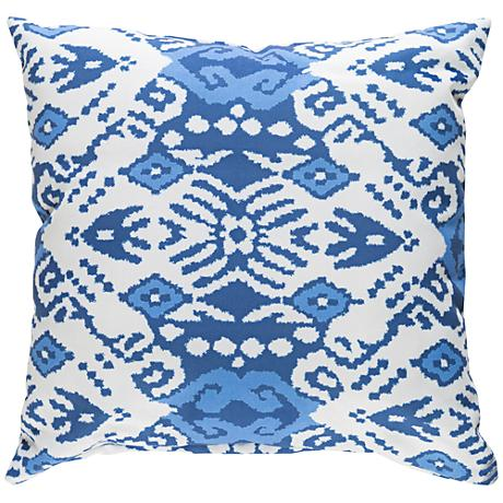 """Surya Phoebe Blue and White 18"""" Square Decorative Pillow"""