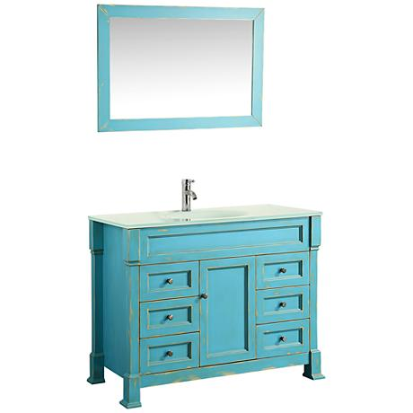 "Bosconi 43"" Sea Green 6-Drawer Extra-White Glass Vanity Set"