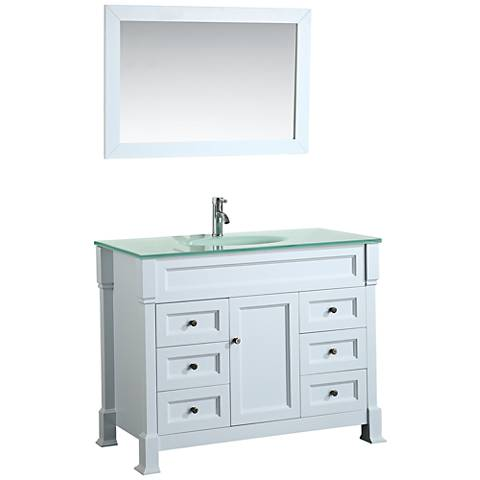 "Bosconi 43"" White 6-Drawer White Glass 1-Sink Vanity Set"
