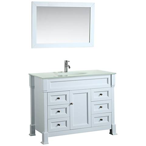 "Bosconi 43"" White 6-Drawer Extra-White Glass Vanity Set"