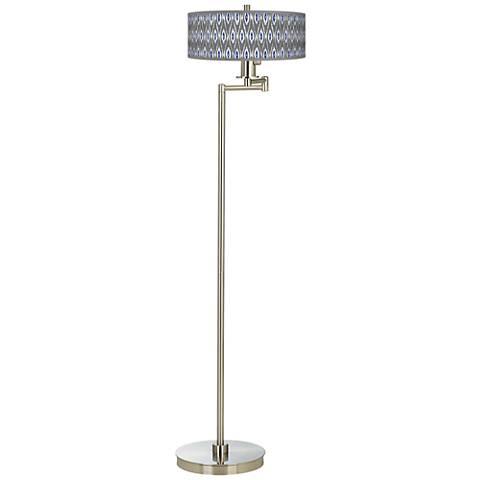American Ikat Giclee Energy Efficient Swing Arm Floor Lamp