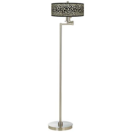 Leopard Giclee Energy Efficient Swing Arm Floor Lamp