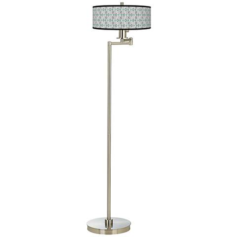 Indigenous Giclee Energy Efficient Swing Arm Floor Lamp