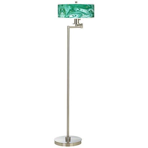 Malachite Giclee Energy Efficient Swing Arm Floor Lamp