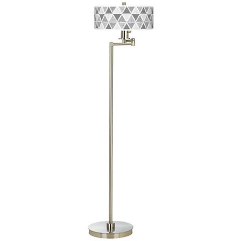 Pointillism Giclee Energy Efficient Swing Arm Floor Lamp