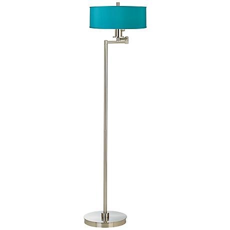 Teal Blue Faux Silk Energy Efficient Swing Arm Floor Lamp
