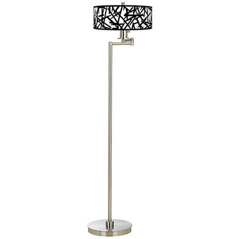 Sketchy Giclee Energy Efficient Swing Arm Floor Lamp