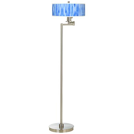 Blue Tide Giclee Energy Efficient Swing Arm Floor Lamp