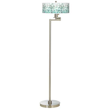 Aqua Mosaic Giclee Energy Efficient Swing Arm Floor Lamp