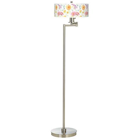 Spring Garden Giclee Energy Efficient Swing Arm Floor Lamp