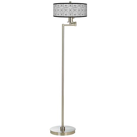 Tile Illusion Giclee Energy Efficient Swing Arm Floor Lamp