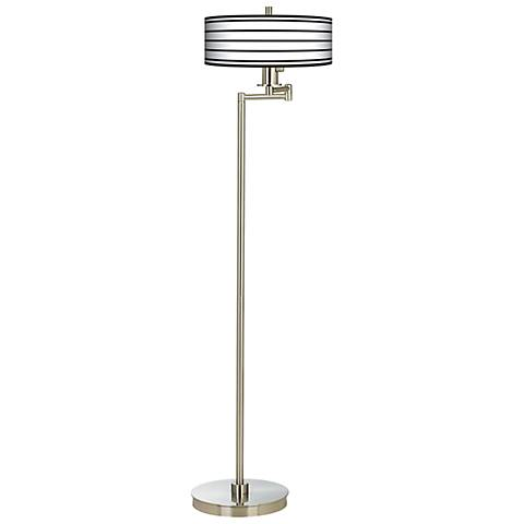 Black Parallels On White Energy Efficient Swing Arm Floor Lamp