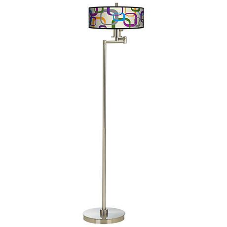 Retro Squares Scramble Energy Efficient Swing Arm Floor Lamp