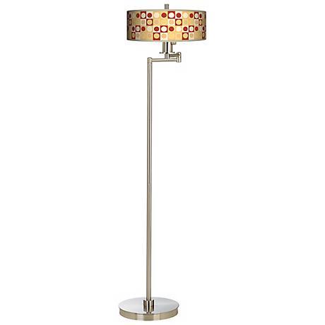 Retro Dotted Squares Energy Efficient Swing Arm Floor Lamp