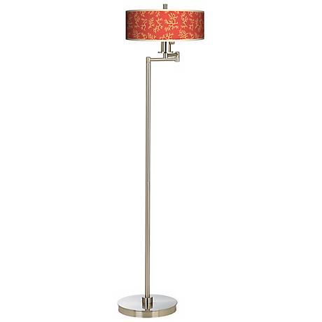 Tangerine Coral Energy Efficient Swing Arm Floor Lamp