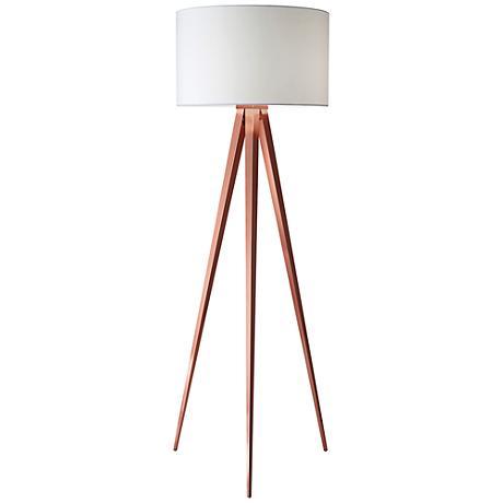 Director Brushed Copper Tripod Floor Lamp