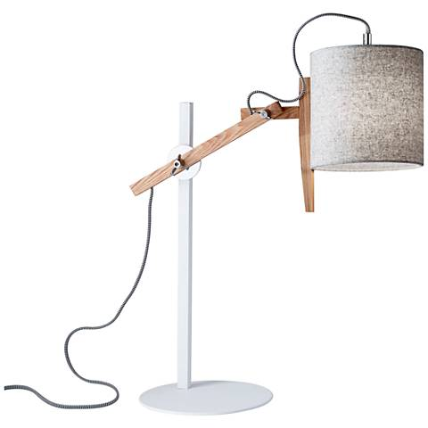 Keaton White and Natural Ash Wood Adjustable Desk Lamp