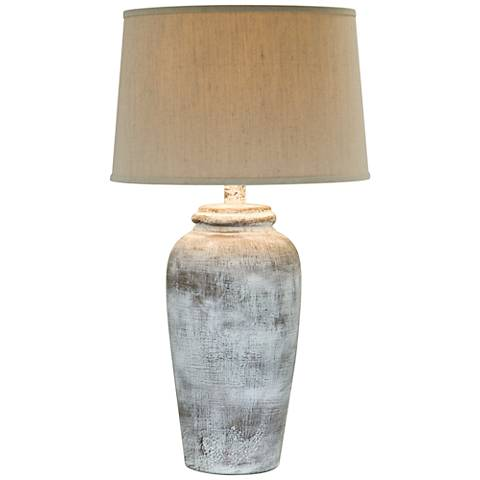 Lechee Stone Rock White Table Lamp