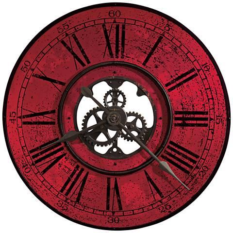 """Howard Miller Brassworks II 32""""W Antique Black Wall Clock"""
