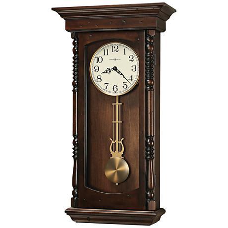 "Howard Miller Kipling 28""H Tobacco Pendulum Wall Clock"