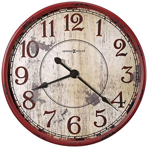 "Howard Miller Back 32""W Antique Red Wall Clock"