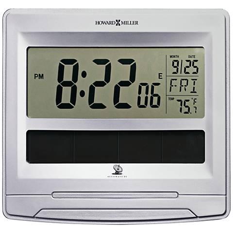 "Howard Miller Solar Tech 8 1/2"" Wide Satin Silver Wall Clock"