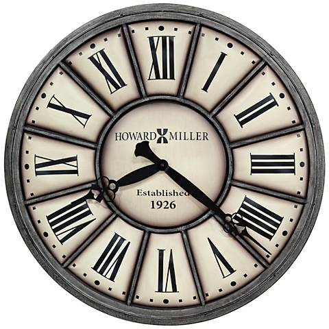 "Howard Miller Company Time II 34""W Antique Nickel Wall Clock"