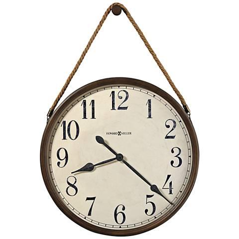 "Howard Miller Bota 37"" High Aged Umber Rope-Hung Wall Clock"