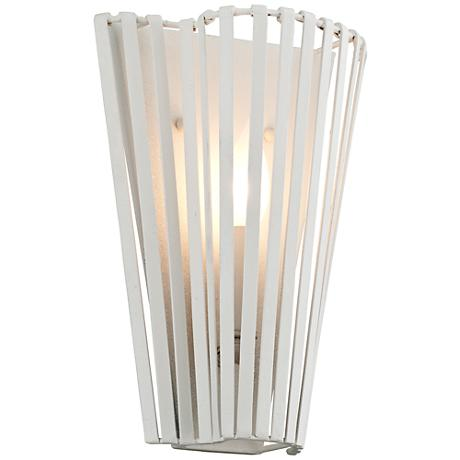 """Tides 11 1/2"""" High Textured White Wall Sconce"""