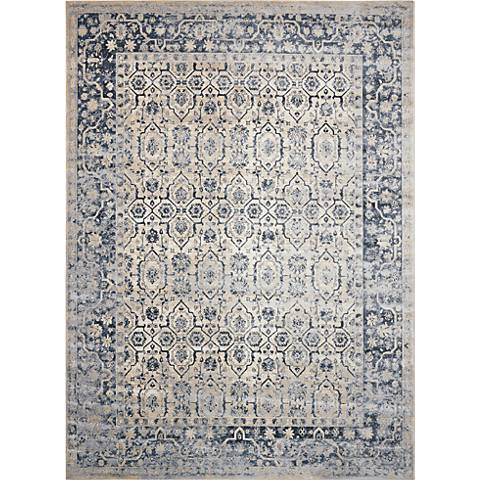 Nourison Malta MAI04 Ivory and Blue Area Rug