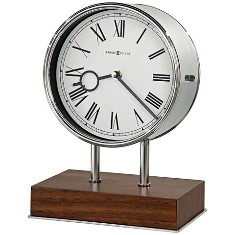 "Howard Miller Zoltan 10 1/2"" High Polished Steel Clock"