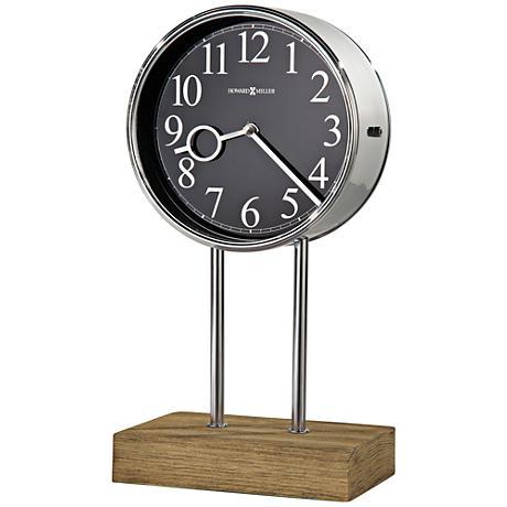"""Howard Miller Baxford 15"""" High Polished Steel Mantel Clock"""