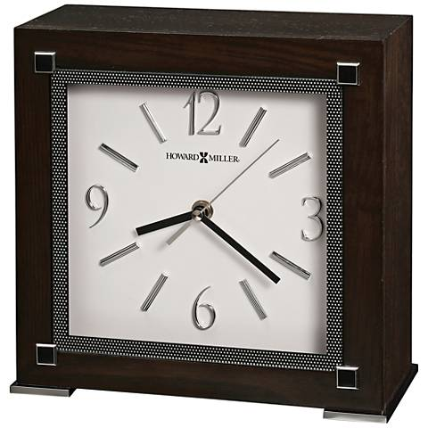 "Howard Miller Reese 9 1/2""H Black Coffee Wood Square Clock"