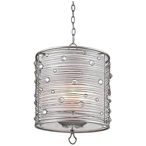 "Joia 14 1/4"" Wide Peruvian Silver Drum Pendant Light"