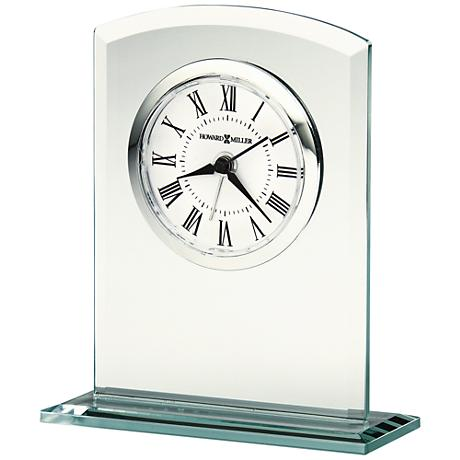 "Howard Miller Medina 4 3/4"" High Beveled Glass Alarm Clock"