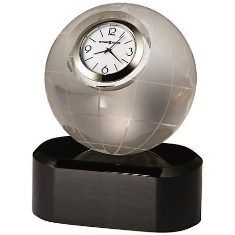 "Howard Miller Axis 4 1/2""H Solid Black Glass Globe Clock"