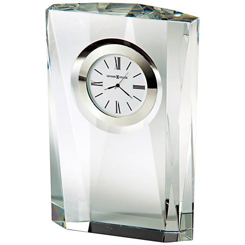 "Howard Miller Quest 7""H Faceted Column Optical Glass Clock"