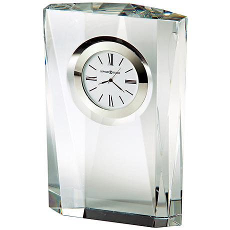 """Howard Miller Quest 7""""H Faceted Column Optical Glass Clock"""
