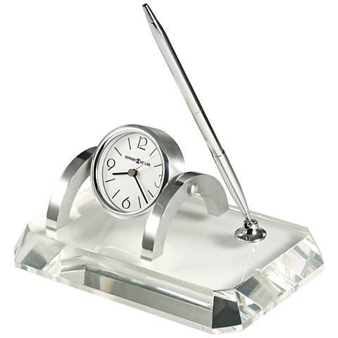 "Howard Miller Prominence Desk Set 7""W Optical Glass Clock"