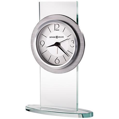 "Howard Miller Brookline 8 1/4"" High Aluminum Table Clock"