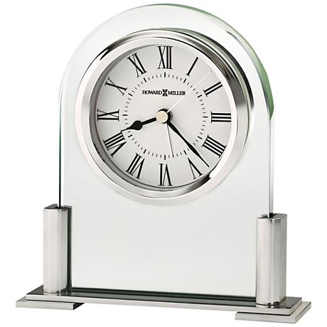 """Howard Miller Brinell III 5"""" High Glass And Silver Clock"""