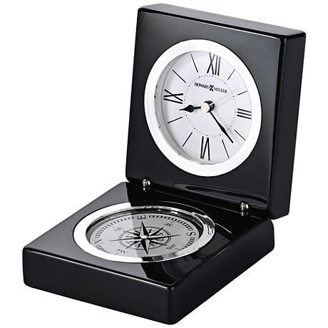 """Howard Miller Endeavor 4 1/2""""H Black PianoCompass Clock"""