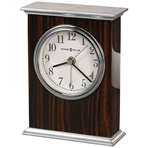 "Howard Miller Regal 5 1/2""H Faux Macassar Ebony Piano Clock"