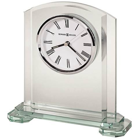 "Howard Miller Stratus 8 1/4"" High Clear Glass Table Clock"