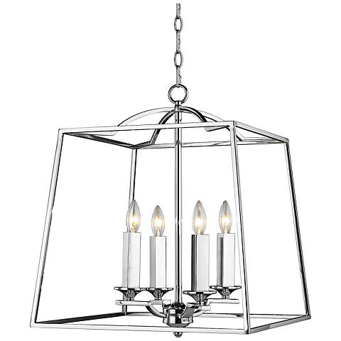 "Athena 19"" Wide Chrome Open Cage Large Foyer Pendant"