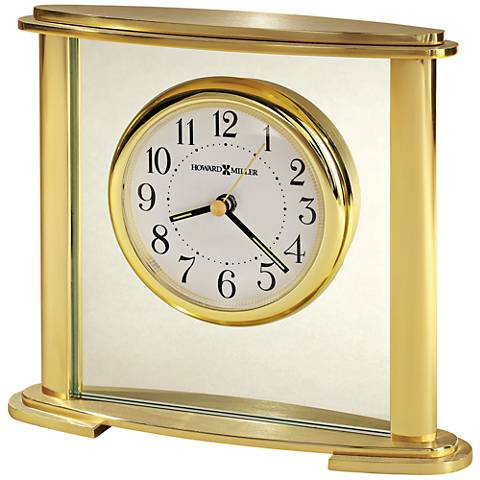 "Howard Miller Stanton 7""W Brushed and Polished Brass Clock"