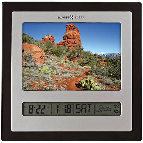 "Howard Miller Persona 6 3/4""H Satin Silver LCD Table Clock"
