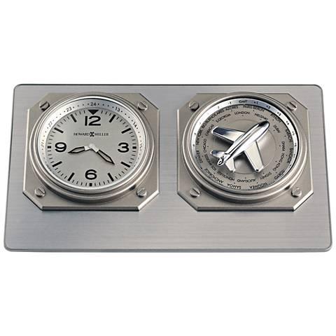 """Howard Miller Aviatrix 6 3/4""""W World Time Titanium Clock"""
